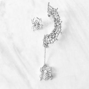 Jewelry - Spider Web & Spiders  Lobe Cuff Side Earrings